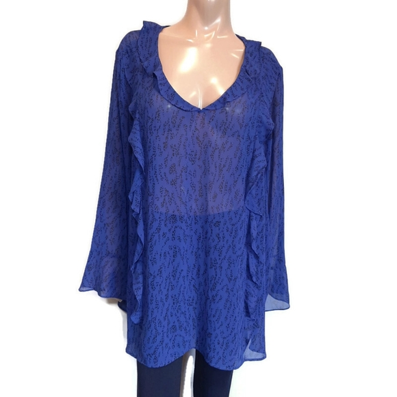 🍁 PENNINGTONS Sheer Ruffled Long Bell Sleeve Blouse Printed V-neck Tunic Top